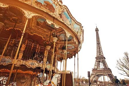 merry go round and eiffel tower